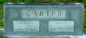Headstone of Elver Liles and Amos Carter